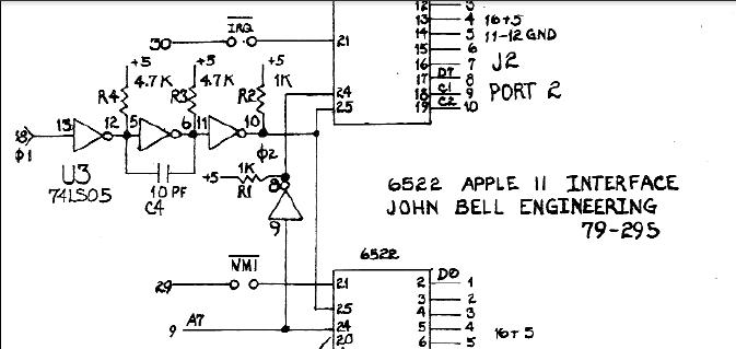 John Bell 6522 Board, 74LS05 Circute < Full Size >